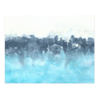 Layered Blues Abstract Painting Postcard