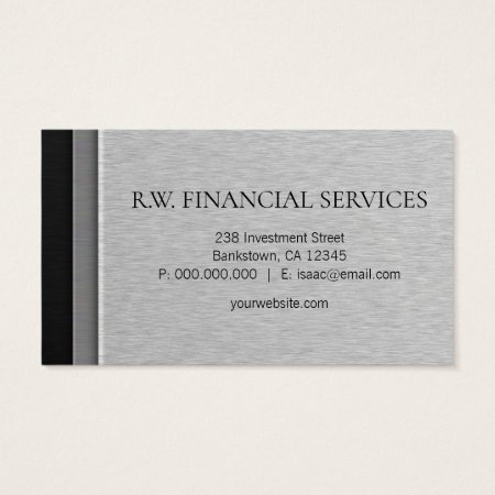 Layered Black and Gray Brushed Steel Metal Accountant Business Cards