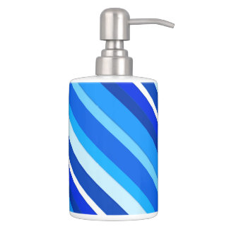 Layered candy stripes - cobalt and pale blue bath accessory sets
