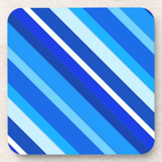 Layered candy stripes - cobalt and pale blue beverage coaster