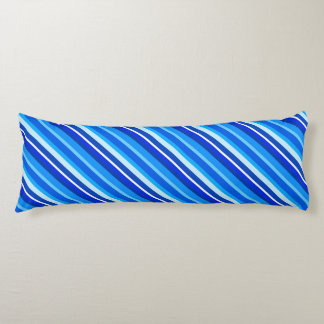 Layered candy stripes - cobalt and pale blue body pillow