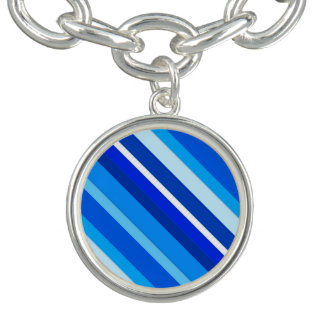 Layered candy stripes - cobalt and pale blue bracelet
