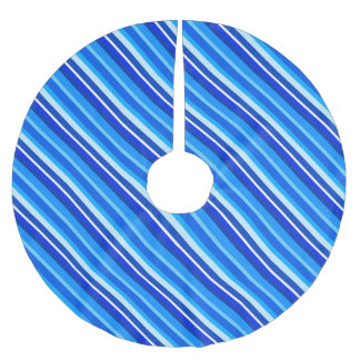 Layered candy stripes - cobalt and pale blue brushed polyester tree skirt