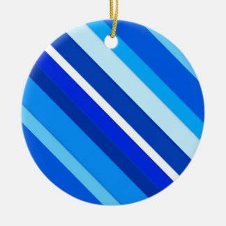Layered candy stripes - cobalt and pale blue ceramic ornament