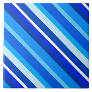 Layered candy stripes - cobalt and pale blue ceramic tile