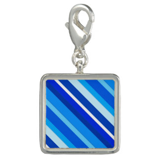 Layered candy stripes - cobalt and pale blue charm