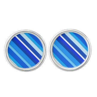 Layered candy stripes - cobalt and pale blue cufflinks
