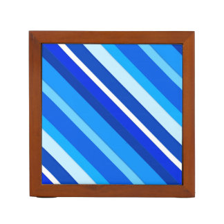 Layered candy stripes - cobalt and pale blue Pencil/Pen holder