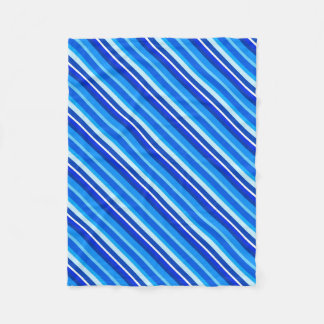 Layered candy stripes - cobalt and pale blue fleece blanket