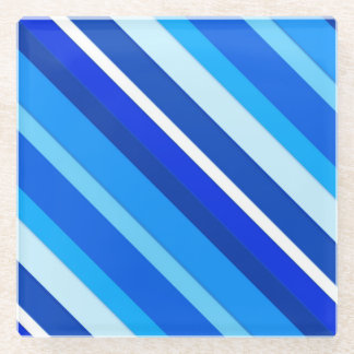 Layered candy stripes - cobalt and pale blue glass coaster