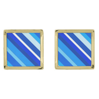 Layered candy stripes - cobalt and pale blue gold cufflinks