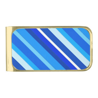 Layered candy stripes - cobalt and pale blue gold finish money clip