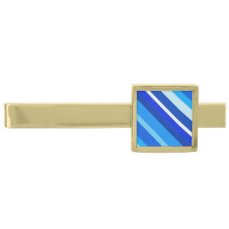 Layered candy stripes - cobalt and pale blue gold finish tie bar