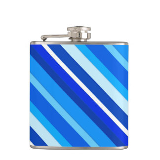 Layered candy stripes - cobalt and pale blue hip flask