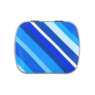 Layered candy stripes - cobalt and pale blue jelly belly candy tin