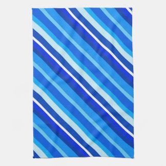 Layered candy stripes - cobalt and pale blue kitchen towel