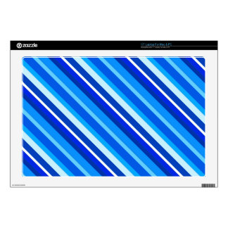 Layered candy stripes - cobalt and pale blue laptop decals