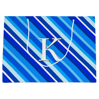 Layered candy stripes - cobalt and pale blue large gift bag