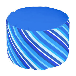 Layered candy stripes - cobalt and pale blue round pouf