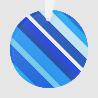 Layered candy stripes - cobalt and pale blue ornament