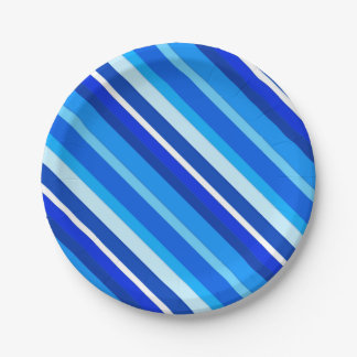 Layered candy stripes - cobalt and pale blue paper plate