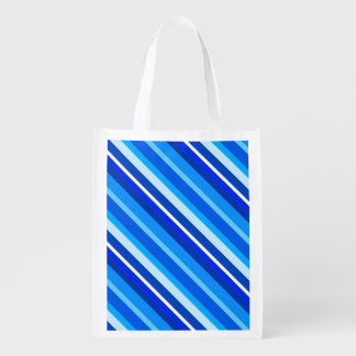 Layered candy stripes - cobalt and pale blue reusable grocery bags