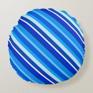 Layered candy stripes - cobalt and pale blue round pillow