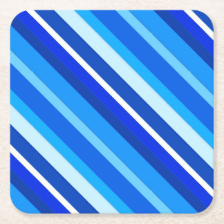 Layered candy stripes - cobalt and pale blue square paper coaster