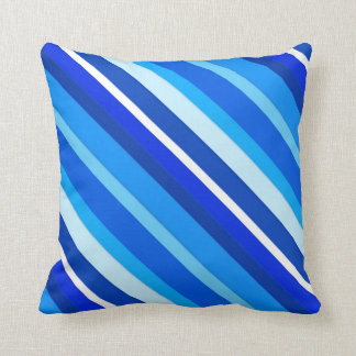 Layered candy stripes - cobalt and pale blue throw pillow