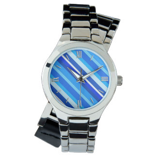 Layered candy stripes - cobalt and pale blue watch