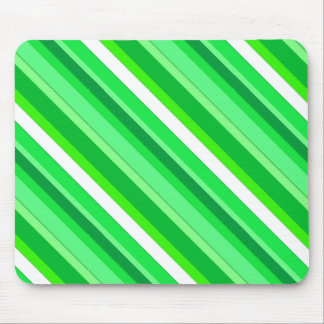 Layered candy stripes - emerald green and white mouse pad