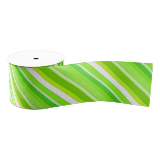 Layered candy stripes - lime green and white grosgrain ribbon
