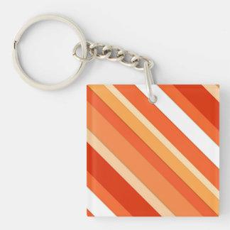 Layered candy stripes - orange and white keychain