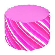 Layered candy stripes - pink and fuchsia round pouf
