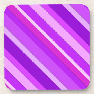 Layered candy stripes - purple and orchid beverage coaster
