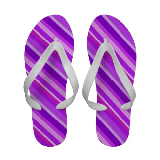 Layered candy stripes - purple and orchid flip flops