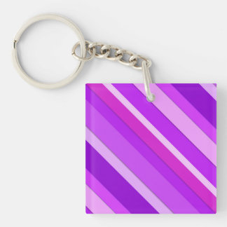 Layered candy stripes - purple and orchid acrylic keychains
