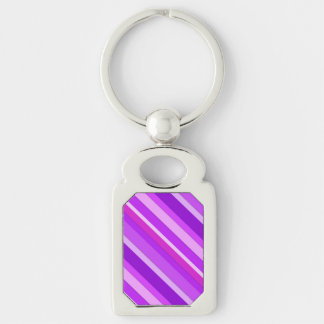 Layered candy stripes - purple and orchid keychain
