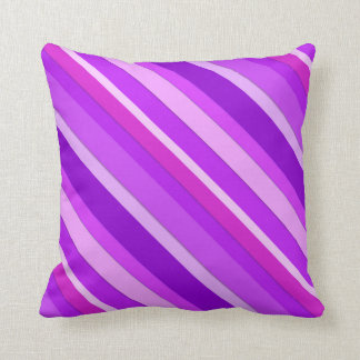 Layered candy stripes - purple and orchid throw pillow