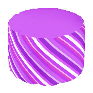 Layered candy stripes - purple and orchid round pouf