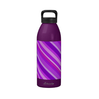Layered candy stripes - purple and orchid water bottle