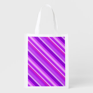 Layered candy stripes - purple and orchid reusable grocery bags