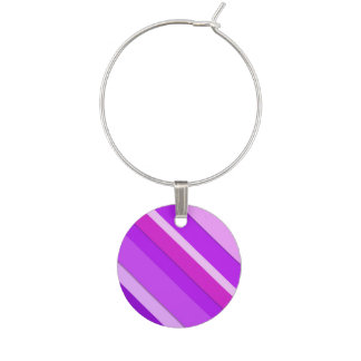 Layered candy stripes - purple and orchid wine glass charm
