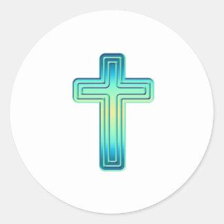 Layered Cross 1 Classic Round Sticker