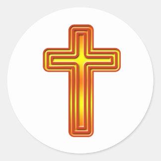 Layered Cross 2 Classic Round Sticker
