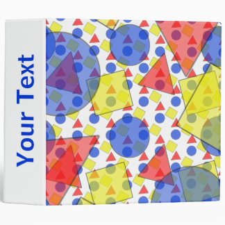 Layered Geometric Shapes in Primary Colors 3 Ring Binder