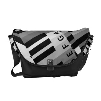 Layered Piano Pattern Black and White Courier Bag