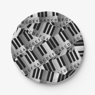 Layered Piano Pattern Black and White 7 Inch Paper Plate