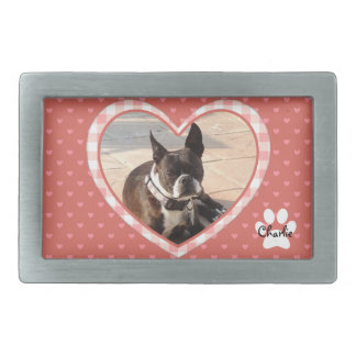 Layered Pink Heart Pattern with Plaid Frame Belt Buckle