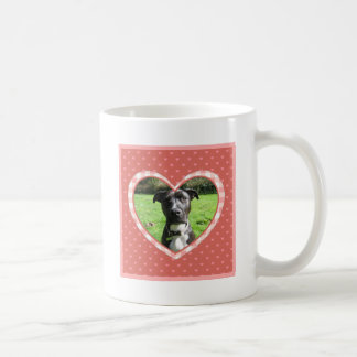 Layered Pink Heart Pattern with Plaid Frame Coffee Mug